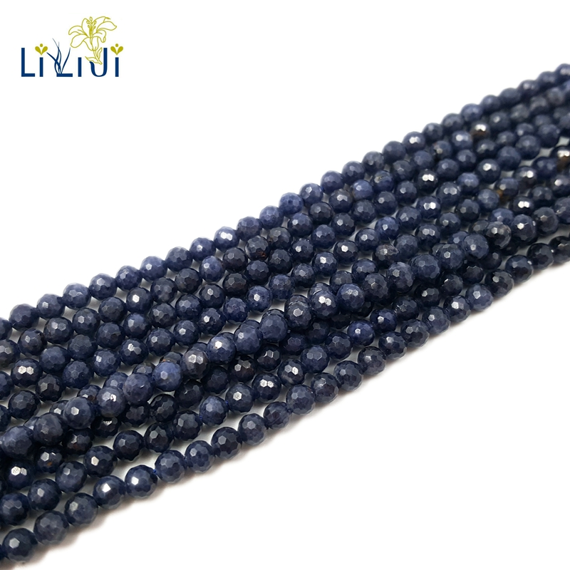 Lii Ji Gemstone Natural Blue Sapphire Round Shape Faceted beads 3mm/4mm DIY Jewelry Making Approx 39cm