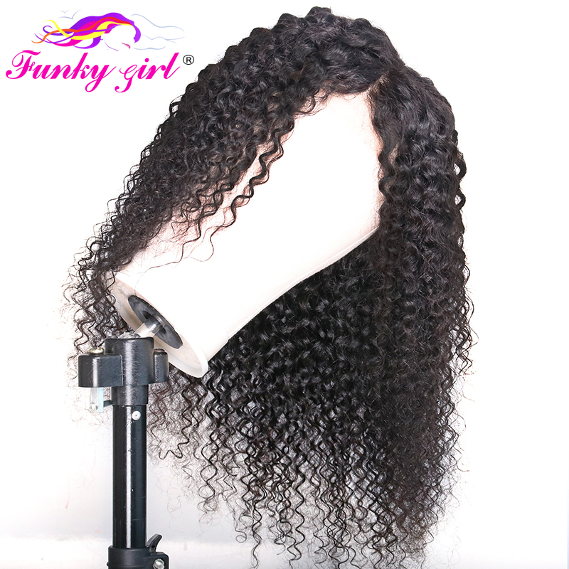 Funky Girl 4X4 Lace Closure Wig Brazilian Curly Lace Front Human Hair Wigs For Black Women