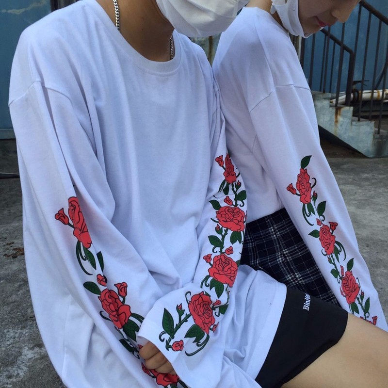 HTB1H MkNVXXXXaMXVXXq6xXFXXXF - Long sleeve T-shirt men women print flower rose white