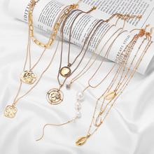 17KM богемная монета Лунная ракушка карта бусы ожерелья для женщин многослойные Y золотые серебряные ожерелья и подвески Модные ювелирные изделия