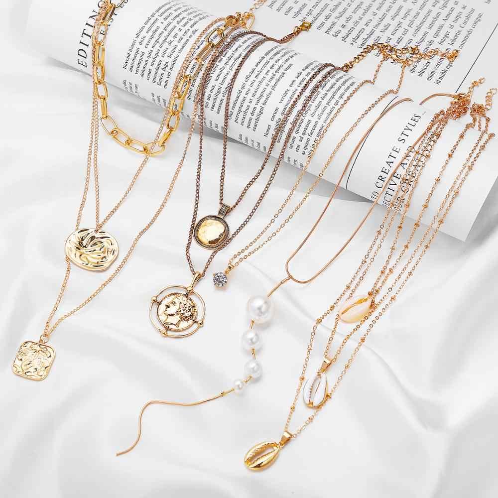 17 км богемная монета Лунная ракушка карта бусы ожерелья 2019 для женщин многослойные Y золотые Серебрянные ожерелья и подвески ювелирные изделия