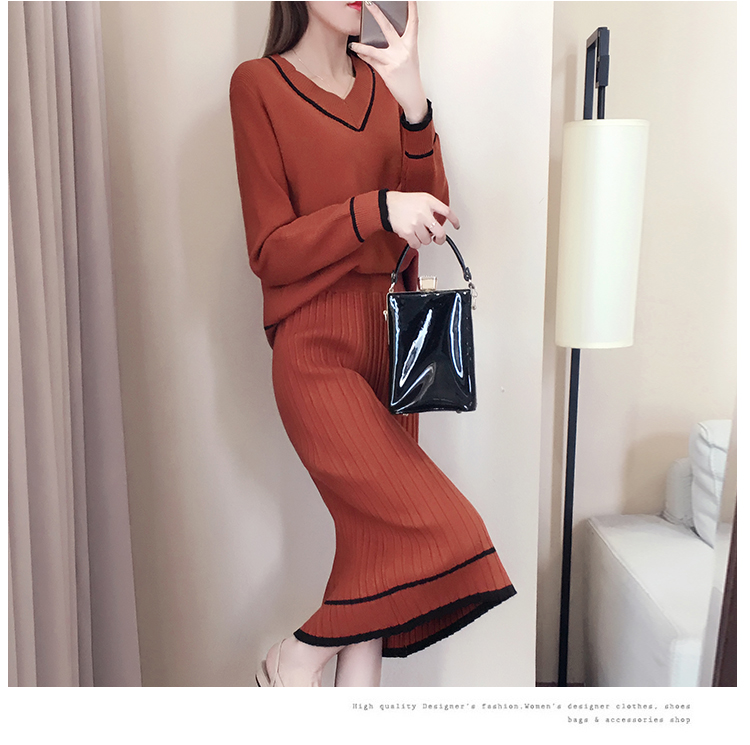 Autumn Winter Knitted Two Piece Sets Outfits Women V-neck Sweater And Skirt Suits Tracksuits Elegant Casual Fashion 2 Piece Sets 73