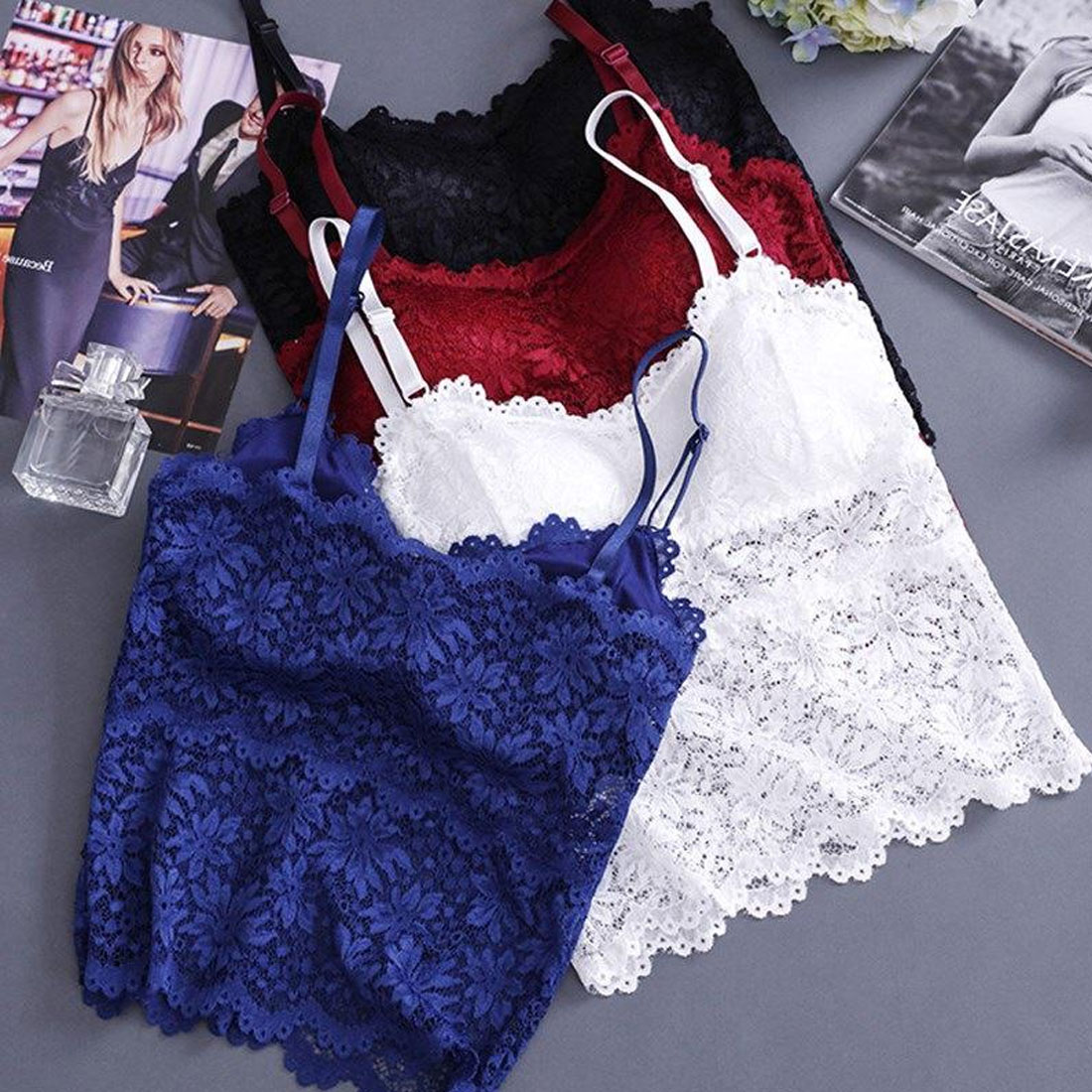 Women Lace Tube Top Flower Camisoles Sexy Crop Top Female Tanks Top Soft Removable Padded V Neck Transparent Lace Bra in Bras from Underwear Sleepwears