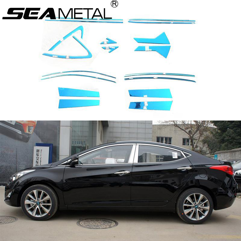 For Hyundai Elantra 2013 2014 2015 Car Styling Full Window Trim Decoration Strips Stainless steel Auto Accessories OEM-18-24 high quality stainless steel strips car window trim decoration accessories car styling 12pcs for 2011 2013 toyota highlande