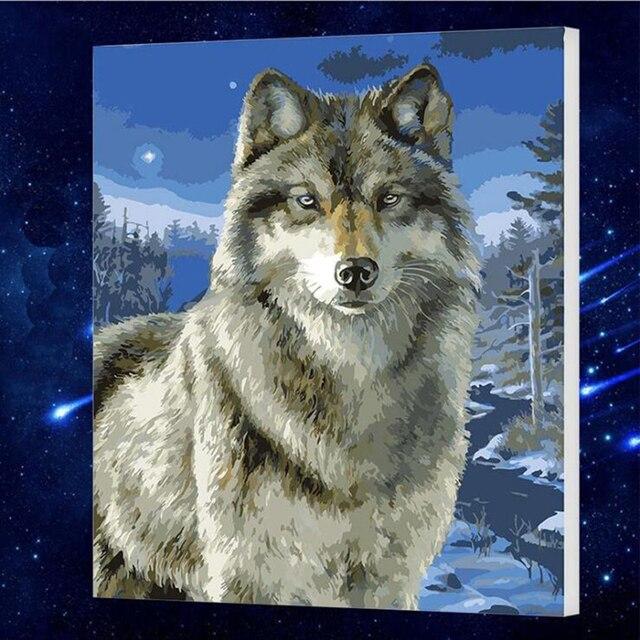 50x65 Cm Hauptwanddekor Wolf Tiere Diy Malerei Durch
