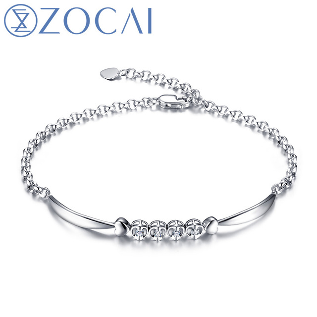 ZOCAI ANGEL'S KISS 0.1 CT CERTIFIED SI /H DIAMOND 18K WHITE GOLD CHAIN BRACELET JEWELRY BRACELETS BRACLETS BANGLE S00234