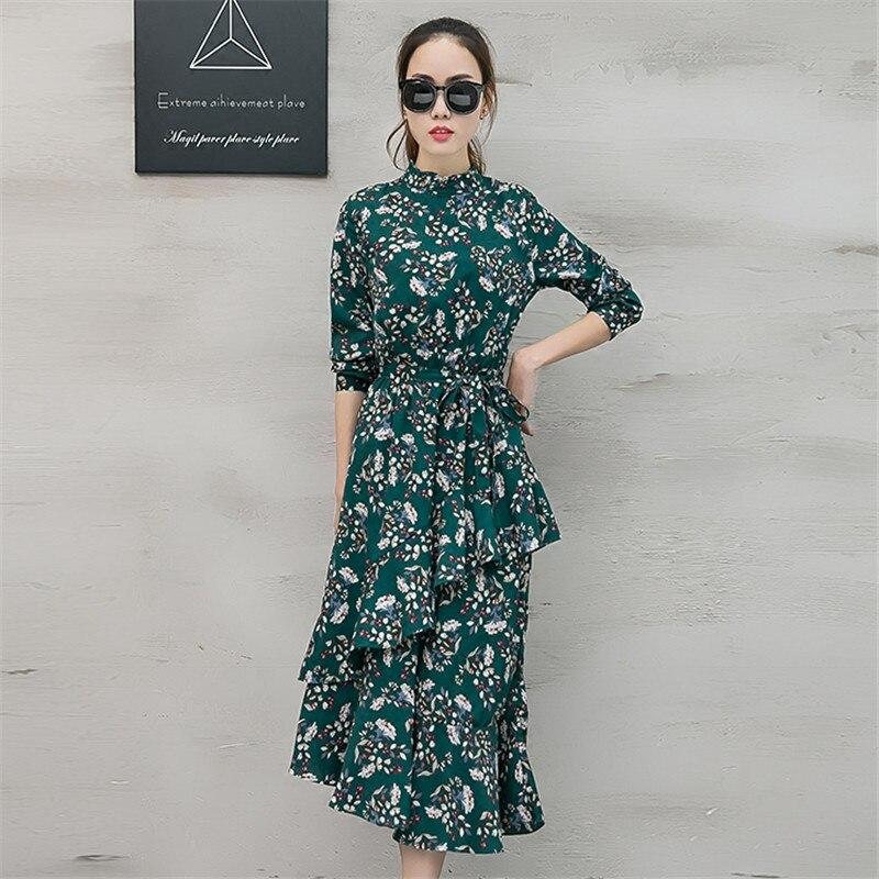 Spring Irregular Long Chiffon Dress Women Vestidos Long Sleeve Maxi Floral Dress Robe Elegant Ladies Dresses