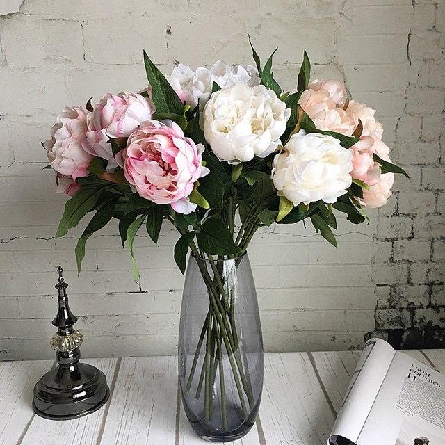 Nieuwe Jaar Kunstzijde + Plastic Pioen Bloem tak met bladeren flores pioenen voor indoor Home decor diy bruiloft decoraties