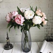Yeni Yıl Yapay Ipek + Plastik Şakayık Çiçek şube yaprakları ile flores şakayık kapalı Ev dekor için diy düğün süslemeleri