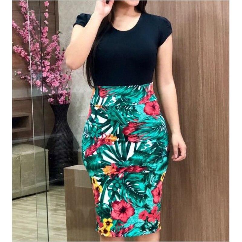 2019 Summer Dress Sexy Vintage Elegant Floral Pencil Dresses Evening Party Print Women Dress Vestidos Plus Sizes