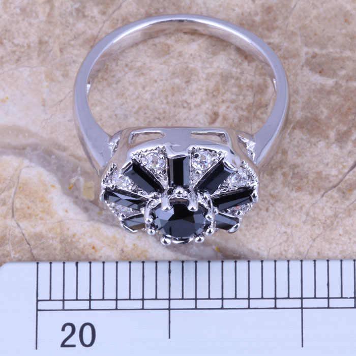 แพรวสีดำประดับเพชรสีขาวCZเงินประทับ925สตรีแหวนขนาด5/6/7/8/9 R0784