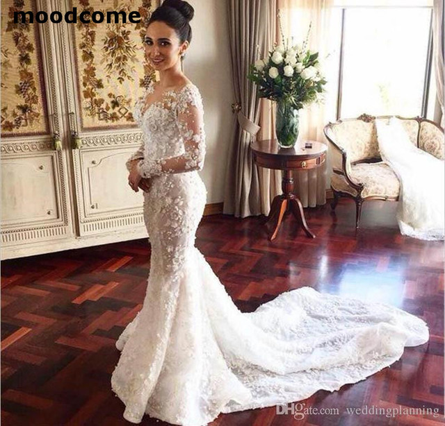 2018 Long Sleeves Wedding Dresses With Overskirt Detachable Train Luxury Lace Dress Sheer Neck