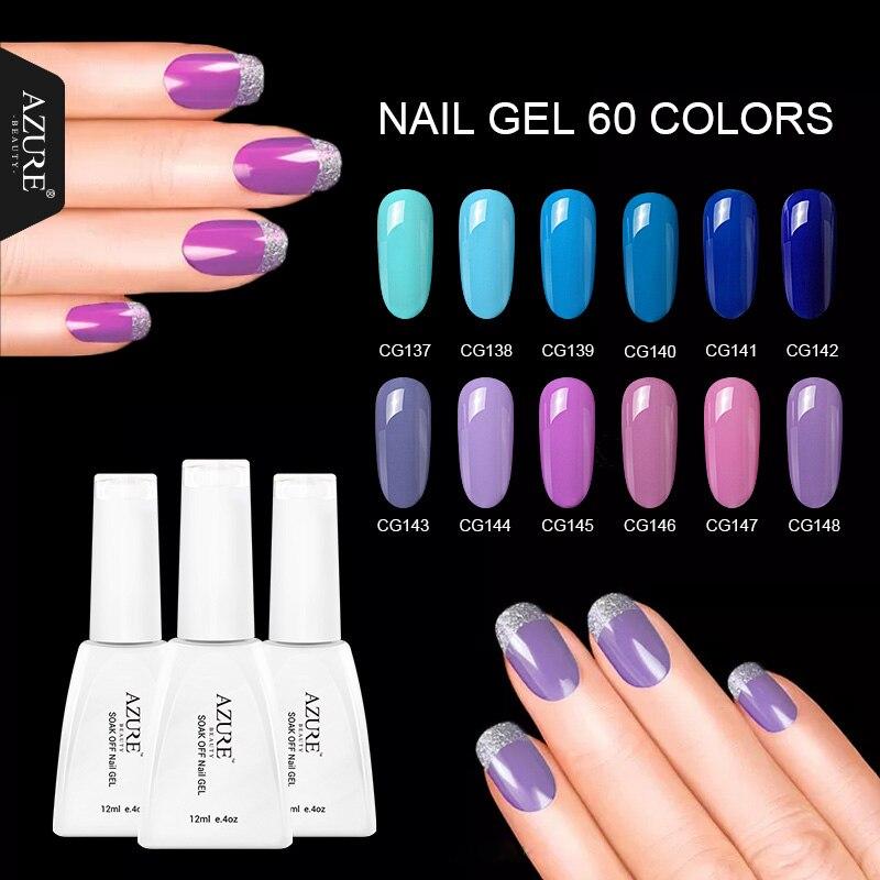 Azure Beauty Purple Color Nail Gel Polish Long-lasting Soak-off UV Gel For Blue Nail Art Design 12ML/Pcs Nail Gel Lacquer mild s peelable nail polish 12ml blue