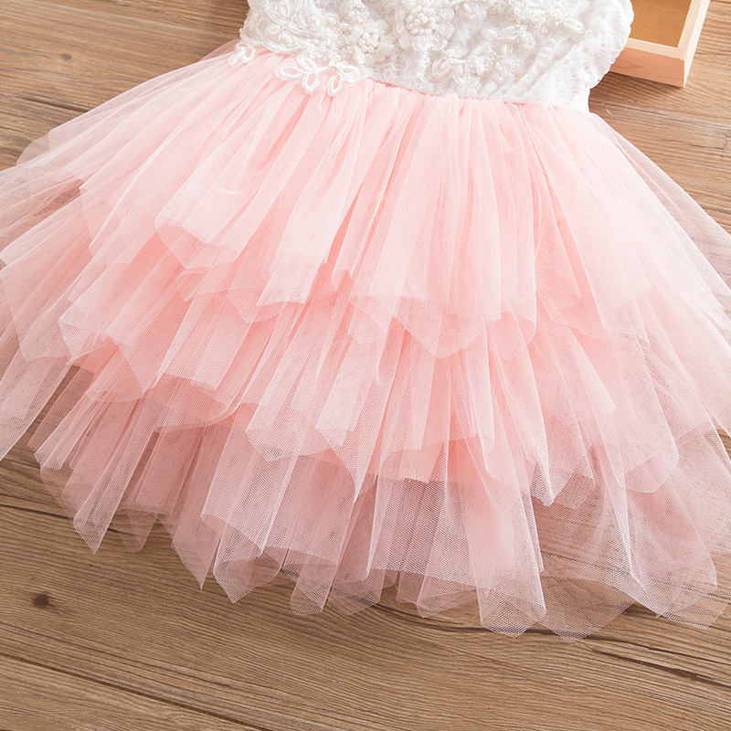 Lace Tulle Dress for Girls 2nd Birthday Princess Outfits Child Costume Kids Cake Smash Beach Floral Dresses Baby Girl Clothing