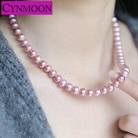 Aaa品質18インチ天然淡水白紫真珠ネックレスジュエリー女性のための8〜9ミリメートルパン形状フラットビーズ真珠のネックレ