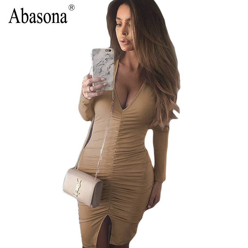 Women Split Autumn Sexy Dress 2017 Cotton Black Vestidos Long Sleeve Dress Deep V White Pleated