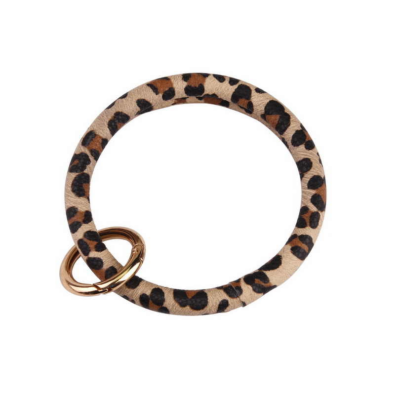 ZWPON 2019 Hot Sale Monogram Printed PU Leather Circle Bracelets Wristlet Bag Car Fob Holder Bangles Key Chain Rings Wholesale