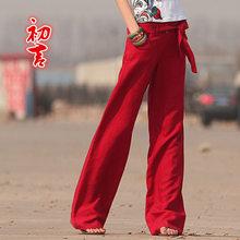 summer female Vintage straight pants cotton linen wide