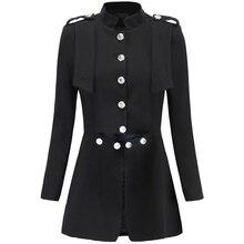 Высокое качество новейшая мода Дизайнерская куртка Женская Металл Лев пуговицы Тонкий установки куртка пальто