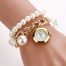 2017 New Style Fashion Watches Women Dress Luxury Pearl Bracelet Wristwatch Electronic Style Women watch Clock Watch reloj mujer