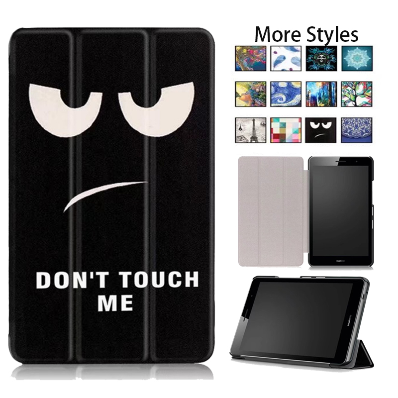 Tablet Case For Huawei Media Pad T3 8.0 Solid Slim Cover Stand Case Flip Print PU Leather Magnetic Smart Cover Case for T3 8inch w 7 classic flip open pu leather case w stand for huawei y300 white