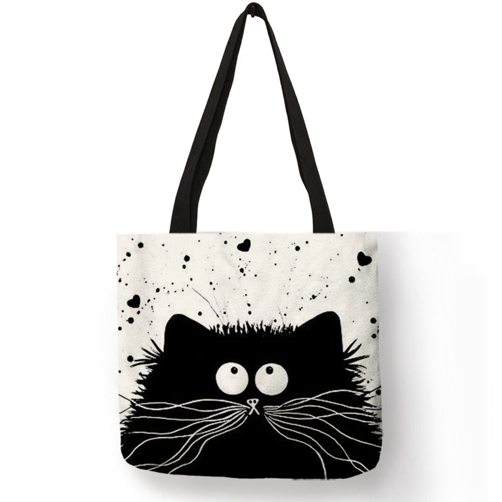 Customized Cute Cat Printing Women Handbag Linen Tote Bags with Print Logo Casual Traveling Beach Bags 8