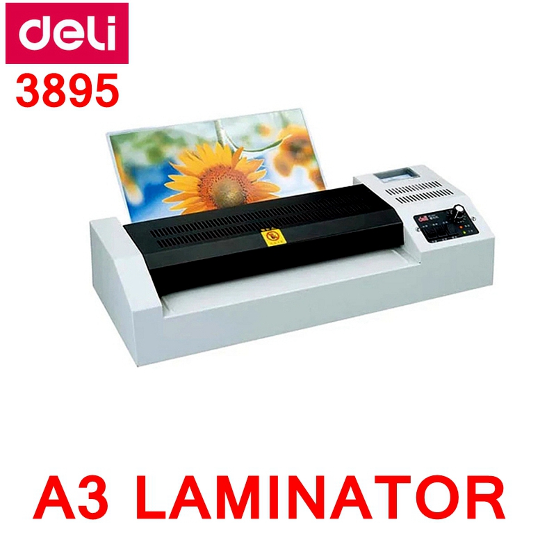 Deli 3895 Cold & Hot laminator 220VAC A3 size photo documents laminator temprature adjust320mm 660mm/min metal housing a3 photo laminator office hot