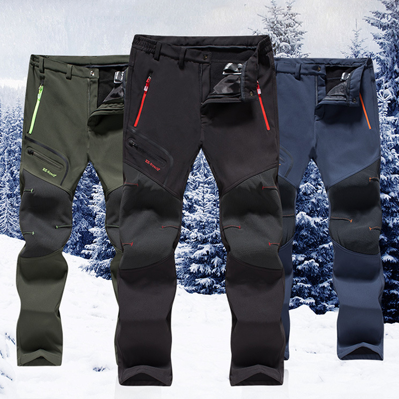 2019 New Hiking Pants Man Waterproof Softshell Winter Outdoor Trousers Sports Camping Trekking Cycling Ski Fleece Pants 002
