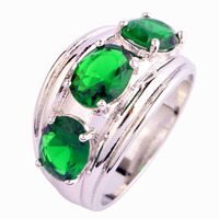 JROSE Wholesale Fashion Charm Oval Cut Emerald 925 Silver Ring Size 7 8 9 10 Free Shipping For Women/Men Jewelry Dazzling Gift