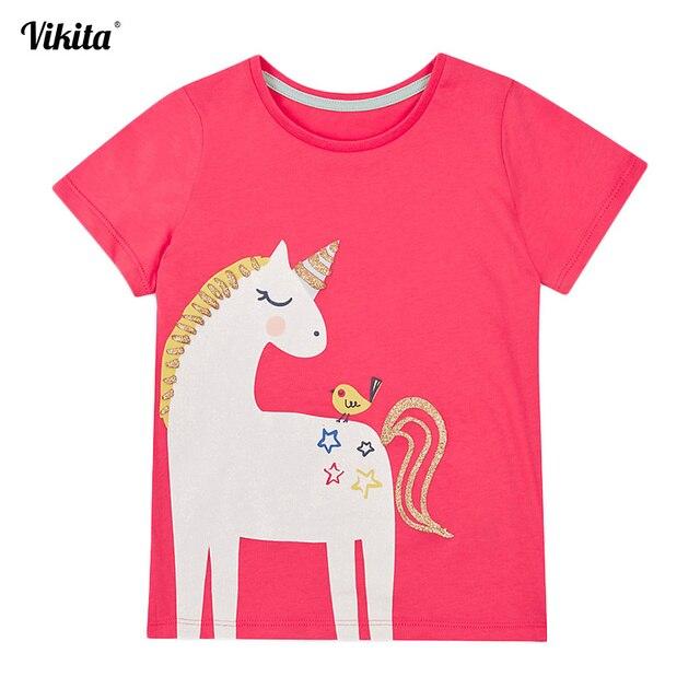95bd3ff6d5b7 Kids T Shirt Baby Girls T Shirt Tees Cotton Cartoon Unicorn Tops Summer  Clothes Cute Children Girls Short Sleeve Tees M50961