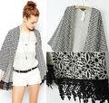 Women Coats Jackets 2015 Brand New Women Gray Floral Kimono Sheer Chiffon Cardigan Fringe Tassel Top Jacket