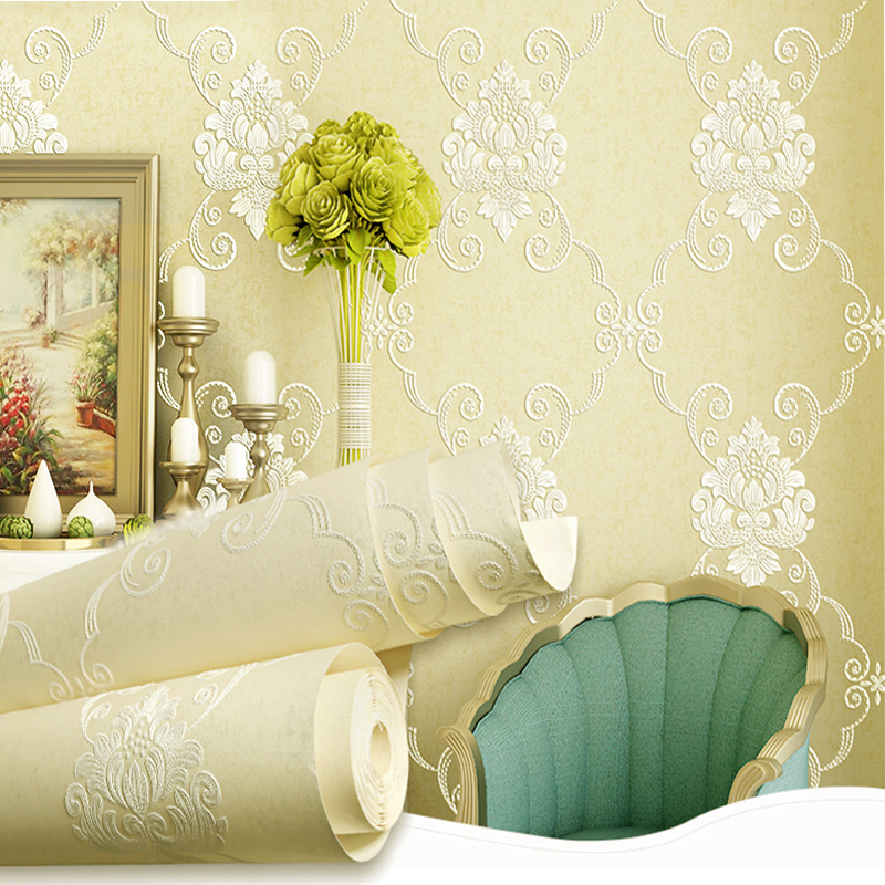 European Style 3D Relief Wall Papers Home Decor Living Room Background Wall Damask Wallpaper Floral Non-woven Papel De Parede 3D 3d european style home decor wall sticker