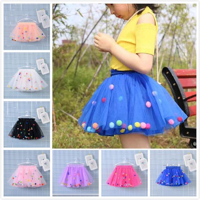 2019 Summer Baby Multilayer Tulle Tutu Skirt Colorful Pom Pom Princess Mini Dress Children Clothing Pettiskirt Girl Clothes