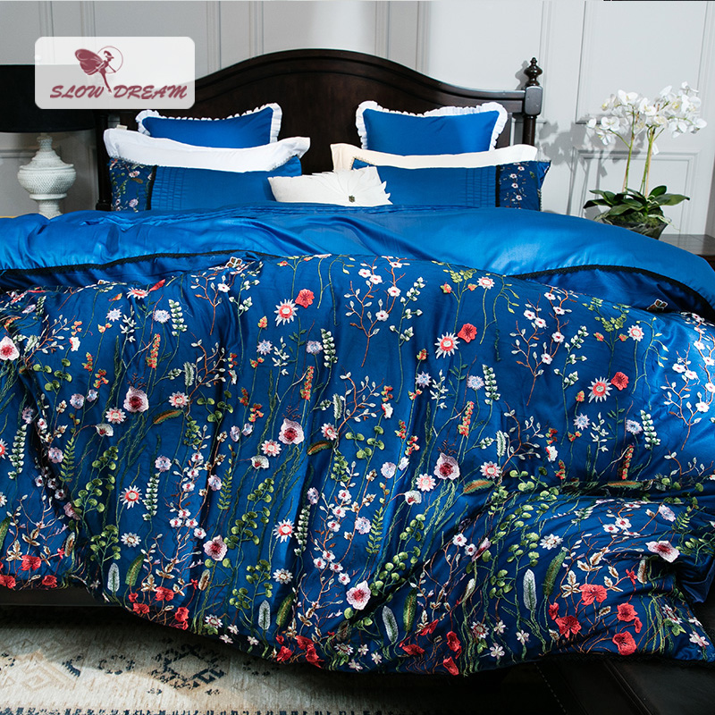 SlowDream European Luxury Embroidery Flower Bedding Set Blue Comfort Duvet Cover Set 100% Cotton Bed Set With Flat Sheet 4Pcs