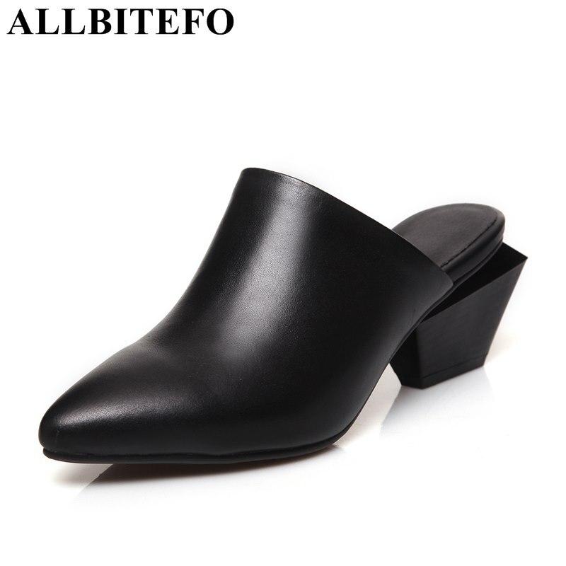 ALLBITEFO 2017 лето натуральная кожа острым носом толстый каблук женщины сандалии мода свободного покроя среднего пятки женская обувь вьетнамки