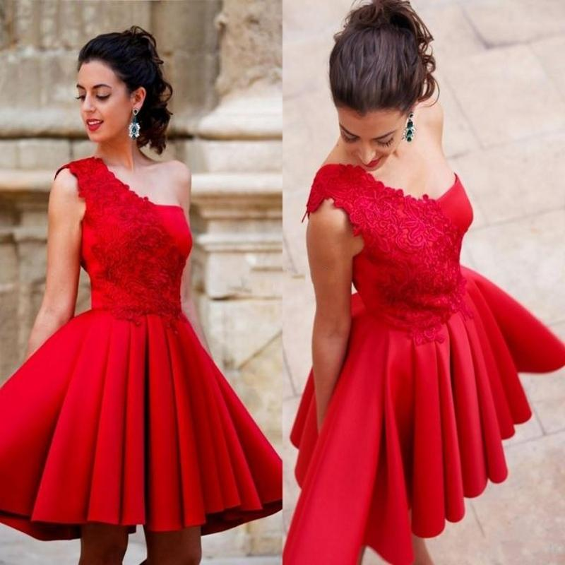 Arabian Evening Dresses Women A Line Red Short Evening Dress 2016 Elegant  Cheap Formal Party Gown Appliques Drap Robe De Soiree 2ad227d331fd