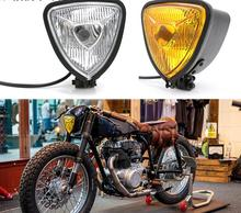 Cafe Racer H4 Headlight Motorcycle Triangle Front Lamp For Harley SX650 Bobber Chopper Retro Headlamp