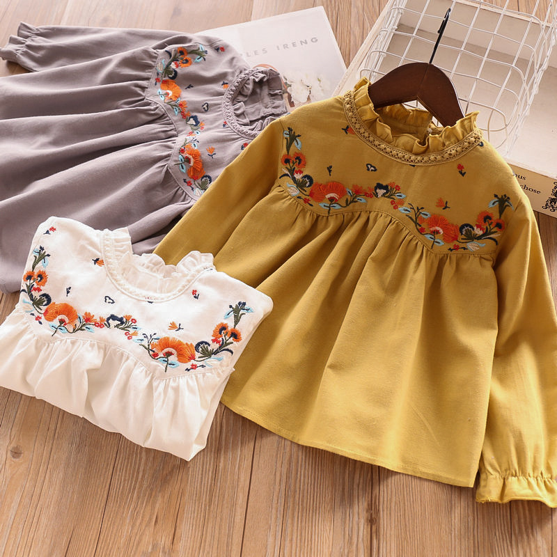Cute Kids Candy Color Summer Spring New Holiday Tees Embroidered Floral White Yellow Gray Color Sweet Girls Tops Blouse