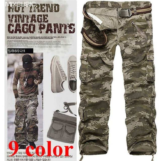 cotton army pants camouflage cargo pants men plus big size 28-40