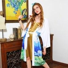STH905 Новое поступление Повседневная негабаритная летняя верхняя одежда кимоно кардиган с поясом длинная шифоновая рубашка с принтом для женщин