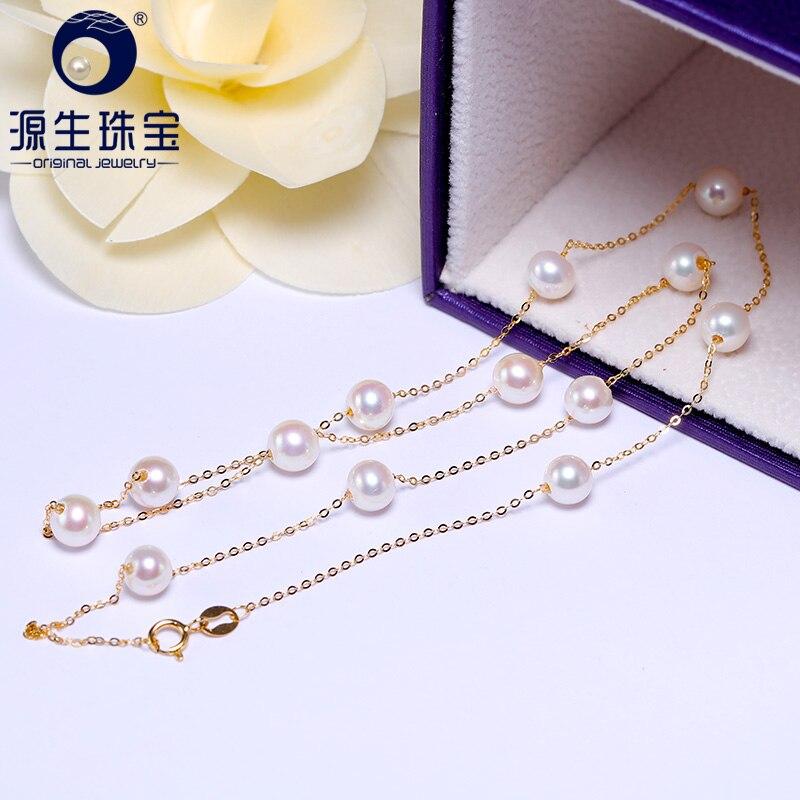 [YS] 18 k Ouro 5-5.5mm Branco Colar de Pérolas Jóia Colar de Pérolas de Água Doce da China