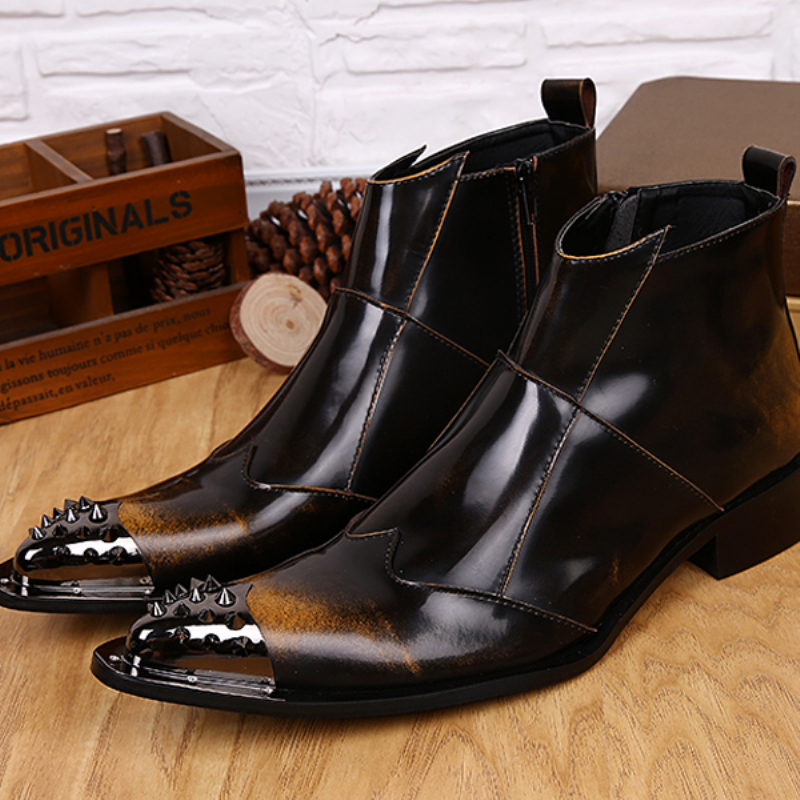 Christia Bella Designer Men Shoes Genuine Leather Men Ankle Boots Rivets Wedding Pointed Toe Men Dress Shoes Brown Cowboy Boots