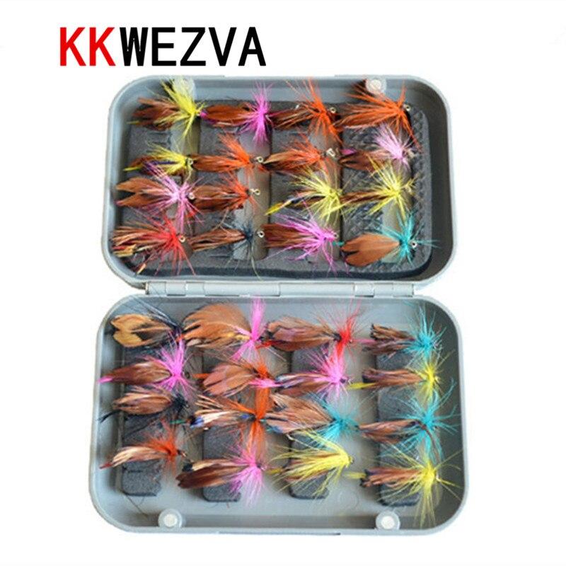 KKWEZVA 32pcs with fly box fly თევზაობა მოყვარე კომპლექტი