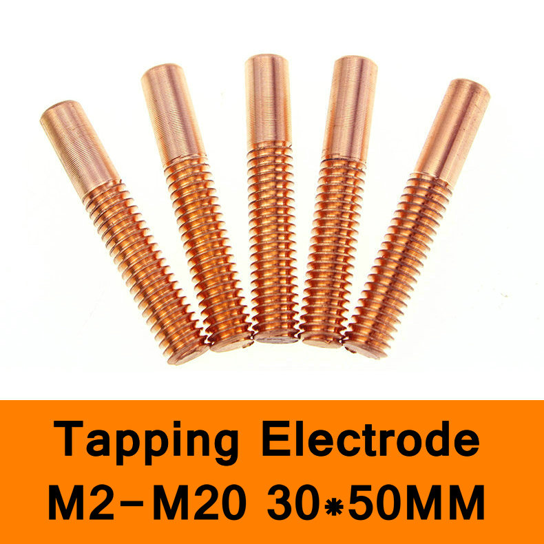 Pure Copper Tapping Electrodes for Spark EDM Thread Electrode Discharge Red Copper Screw Tooth Metric Size M2 to M20 30X50mm