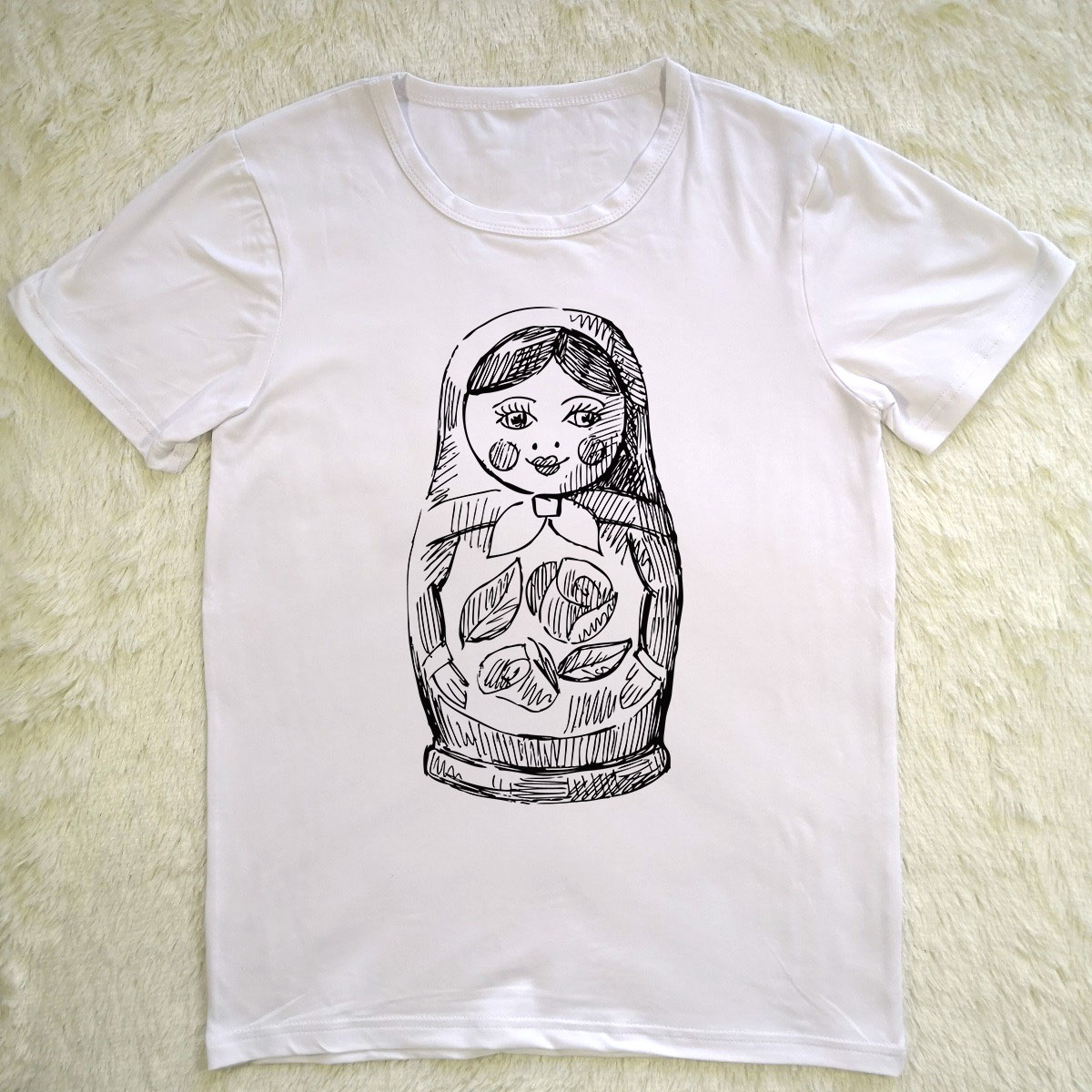 Hillbilly Funny Russian Doll Printed Women tshirt Summer Tops Slim White O-neck Harajuku Vintage Casual T shirt Women Vogue New