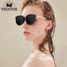VEGOOS New Polarized Women Round Sunglasses Brand Designer Fashion Retro Cat Eye Polaroid Sun Glasses  #6113