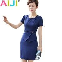 Spring Summer OL Elegant Short Sleeve Women Dress Blue Black O Neck Work Wear Ruffles Office