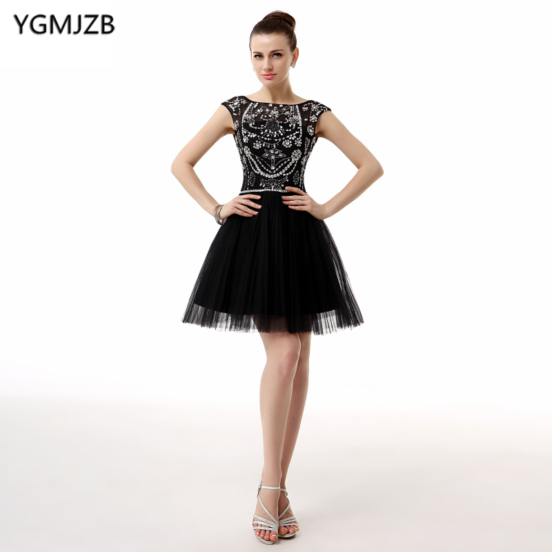 Little Black Dress Cocktail Dresses 2018 A Line Cap Sleeves Glitter Beaded Crystal Tulle Party Dress Backless Homecoming Dress cocktail dress