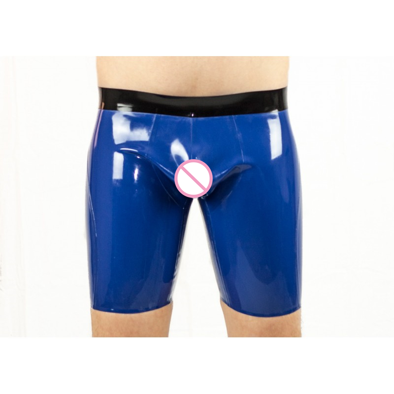 Blue Latex Breeches Latex Rubber Shorts Pants For Men
