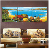 vintage home decor flower pictures painting by numbers Three picture Combination oil painting on canvas Triptych paintings P073